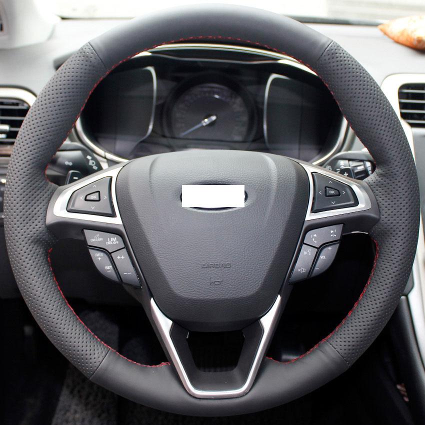 Xuji noir housse de volant en cuir v ritable pour ford for Housse de volant chauffante