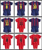 2014-15 Children MESSI home Red blue Away Orange Child Football Jerseys Embroidered shirts,NEYMAR,XAVI,INIESTA,SUAREZ