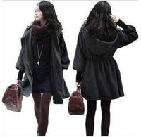 Free shipping 2014 fashion plus size medium-long winter women's wool coat Puff sleeve woolen outerwear Cheap wool jacket V612