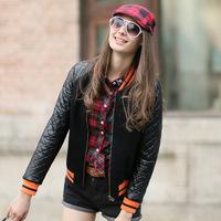 2014 New Autumn PU Leather  Outwear  Coat Female Threaded European Style Hit Color Orange  Lattice Baseball Uniform Jacket Woman