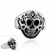Mask Men cool Ring Best Quality Skeleton Stainless Steel #7 #8 #9 with nice gift box  R008 Vintage Jewelry Wholesale
