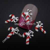 MNS611 Crutch shape nail art christmas decorations tips DIY scrapbooking tools 30pcs