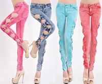 High Quality Fashion Sexy Low Waist Zipper Skinny Vintage Slim Bow Cotton Pencil Pants Hollow Out Women Jeans Female denim 2014