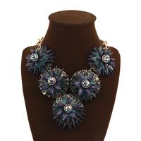 Free shipping 2014 fashion retro big deep sapphire pendant choker necklace women flower golden chain chunky necklace