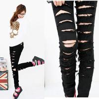 Black Punk Rock Women Ripped Skinny Pants Jeans Leggings Trousers