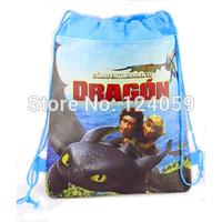 12pcs/Lot  How To Train Dragon Kids Drawstring school bag,Non-woven children cartoon printing school shoulder shopping bag