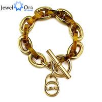 "Luxurious Fashion Bracelets & Bangles For Women 18K Gold Plated ""Love"" And ""Faith"" Bracelets (JewelOra BA101135)"