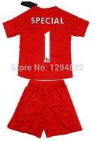 Thailand Quality Youth 14/15 #1 Special Red Goalkeeper Jerseys Soccer Jersey 2014-2015 Kids Uniforms Jersey Size 16-28