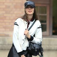 Baseball Uniform 2014 Fashion Wool  Black And White Color Block Classic Single-Breasted Coat Female Jacket