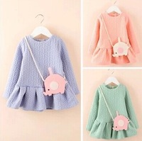 2014 New Arrival Autumn Child Dresses Cute Girls Long Sleeve Bubble Cotton Dresses Elephant Satchel Children Princess Dress