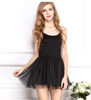 Big Yards Modal Lace Mesh Fabrics Dress Vest  Braces Dress 1136