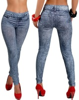 New Stylish Lady's Gray Denim Like Faux Jean Pants Leggings Free Shipping