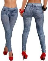 New Stylish Lady's Gray Denim Like Faux Jean Pants Leggings Free Shipping