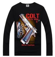 4M308 Free shipping New 2014 fashion Men Long Sleeve 3d gun print T-Shirts casual t shirts brand shirt good quality 100% cotton