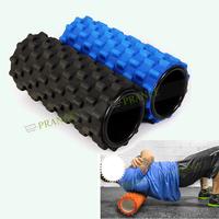 New 2015 Foam Roller Yoga Block Cure Trigger Point Relief Muscular Pain 33.5CM Lenth Yoga Hollow Column Black/Blue Color OT50