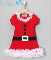 2014 new arrival autumn fashion baby girls Xmas dress pure cotton short sleeve children christmas dresses