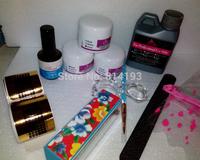 Pro Nail Art Acrylic Liquid Powder Primer Brush Pen deppen dish forms  buffer files Tools
