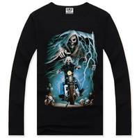 4M307 Free Shipping 2014 Autumn Fashion Casual Men Long sleeve 100% Cotton Famous Brand Tops T shirt Men T-shirt 3d print