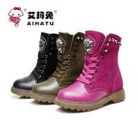 size:26-37 2014 New fashion children  genuine leather boots kids rivet tiger head martin snow boot,boys girls winter shoes
