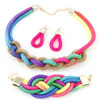 New Arrival Neon Cord Braided Statment Choker Necklace Earring Bracelet Set Fashion Women Jewelry Set