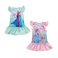 Retail baby girls Frozen Nightgowns/kids Elsa Anna short sleeve pajamas/Children princess sleepwears dress,3-6Y