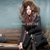 Winter new Korean Women Slim thick hooded fur collar long down jacket women