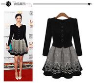 New 2014 Princess dresses Fashion women winter print dress Folk Style casual dress S-XL Plus Size dress