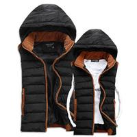 New 2014 Winter Vest Men Warm Man's Hooded Outdoors Down Jacket Fashion Couples Vest Slim Casual Waistcoat MC1003