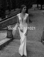 Classic/Vintage Mermaid/Trumpet V-back Lace Sweep Train Real Picture Applique wedding dress vestido de noiva 2015