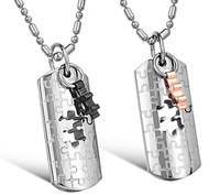 New Style Stainless Steel Puzzle Pendant Necklace His & Hers Matching Jewelry 2014 Fashion Jewelry One Pair