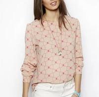 ST2314 New Fashion Ladies' Elegant sweet bowknot print blouses O-neck long sleeve Shirts casual slim brand designer tops