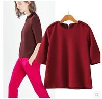 Brand New 2015 Womens EPAULET Deco Back zipper Half Sleeve Pullover Sweatshirt Hoodies Jumper