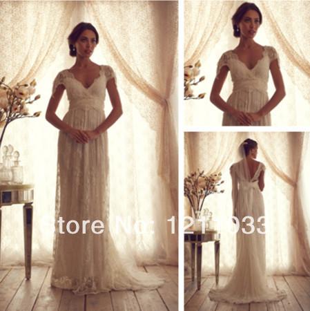 New DressNew Arrival Cap Sleeves V Neck Floor Length Wedding Dresses 2015 vestido de noiva Bling Bridal Gowns Open BackFashion G(China (Mainland))