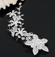 Free shipping 10 pcs Silver Plated Crystal Flower Leaf Bridal Tiara 2 Hair Slide Comb Pin
