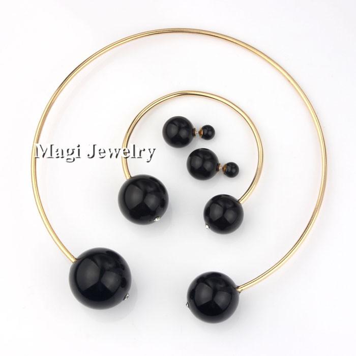 3pcs/set Fashion Black Pearl Jewelry Sets Women Wedding Crystal Necklace Bracelet Earrings Bead Collar Drop Shipping(China (Mainland))
