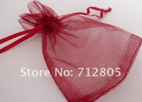 Wholesale 100pcs/lot 17x23cm Dark Red Organza Pouch Jewelry Packing Gift Bags Free Shipping