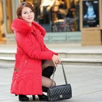 New 2014 Fashion Thicken Slim Medium-long Down Jacket Elegant Lady Luxury Large Fur Collar Parkas Winter Coat Women L-4XL JC057