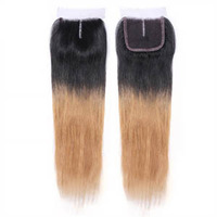 "Custom dark roots blonde   straight Brazilian hair  ombre lace closure  4""*4"""