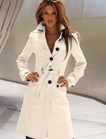 Hot 2014 new women in Europe and America after the open cut multi-colored cashmere wool coat Slim waist
