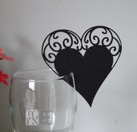 240pcs/lot Black Heart Design Wine Glass Card Place Card Name Number holder Banquet Party favors wd141