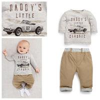 2014 New Autumn Baby Boy Clothes Kids Clothes Sets Children Boys Car And Letter T-shirt+Pants Clothing Set conjunto de roupa