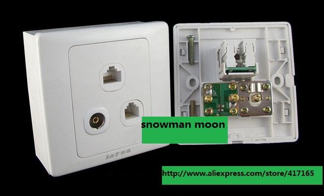 RJ11+RJ45+TV Internet phone TV panels travel adaptor 86 plug(China (Mainland))