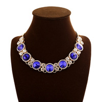 Free shipping 2014 European and American fashion rhineston choker necklace women blue crystal chunky necklace