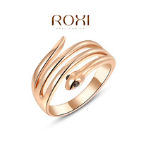 R010 Fashion roxi jewelry new knuckle ring Austrian Genuine crystal rose gold ring snake shape ring