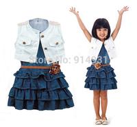 2014 New summer Retail kids girls two-piece Bull-puncher dress Children's white vest +denim dress summer sleeveless