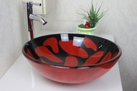 Tap The Red Tempered Glass Vessel Sink With Faucet Set   N-299