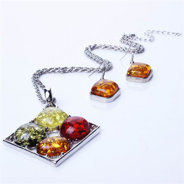 Brief Style Women White K Plated Rhombus Imitated Amber Stone Pendant Charm Necklace Jewelry Set + Eardrop For Party(China (Mainland))