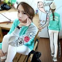 2014 New fashion Women' casual long sleeve Pullover sweatshirt Knitwear with letter patterm,women tops blouse mint green#T48710
