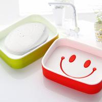 New 2014 fashion cute smile double soap dish soap box   C289   0.07kg