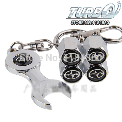 Wholesale Car Tire Valve Stem Cap Dust-Proof Cover with Wrench Keychain for SCION xA xB xD tC iQ FR-S(China (Mainland))